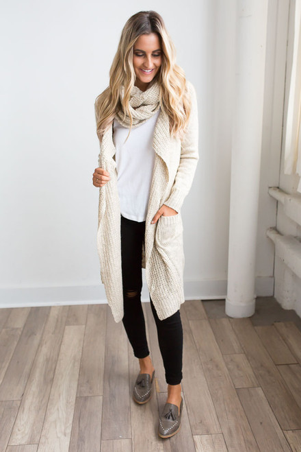 Two Tone Scarf Cardigan - Beige Multi - FINAL SALE