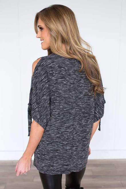 Ribbed Tie Sleeve Top - Heather Charcoal  - FINAL SALE