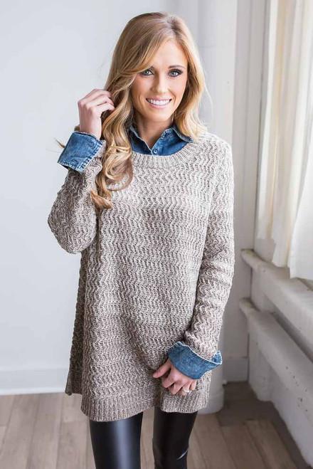Study Break Sweater - Taupe - FINAL SALE