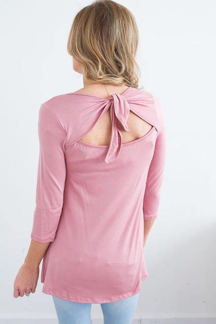 Solid Keyhole Tie Back Top - Pink - FINAL SALE