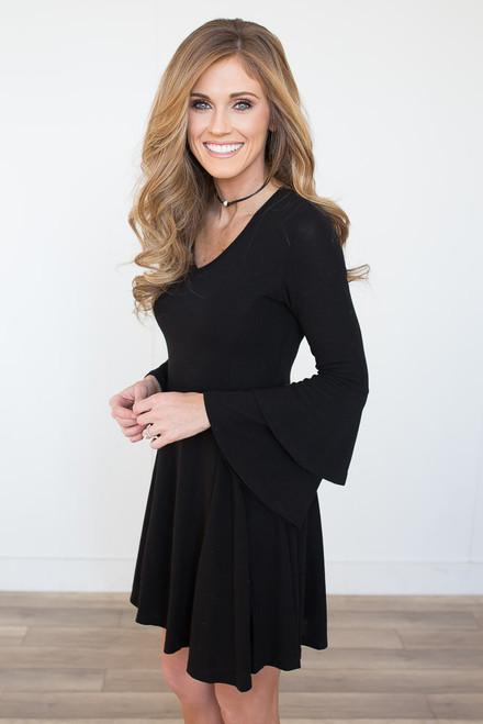 Double Ruffle Bell Sleeve Dress - Black - FINAL SALE