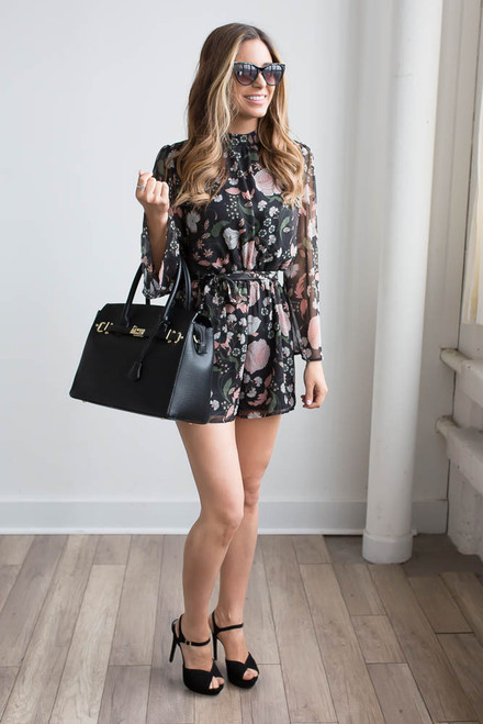 BB Dakota Tullia Floral  Romper - Black - FINAL SALE