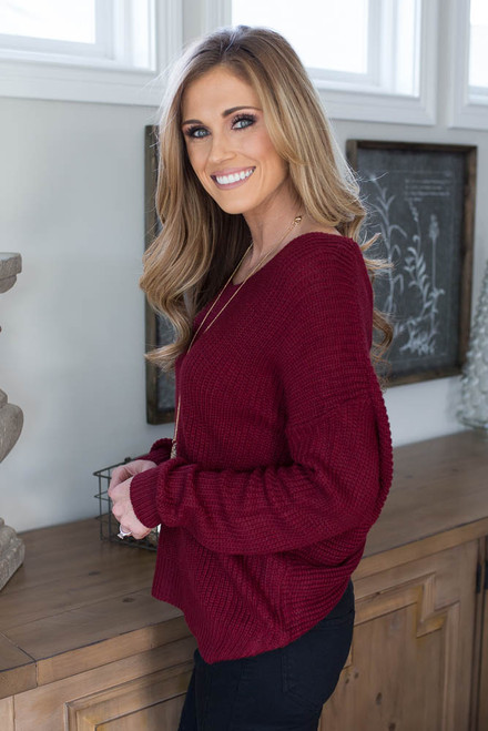 Knot Back Sweater - Burgundy - FINAL SALE