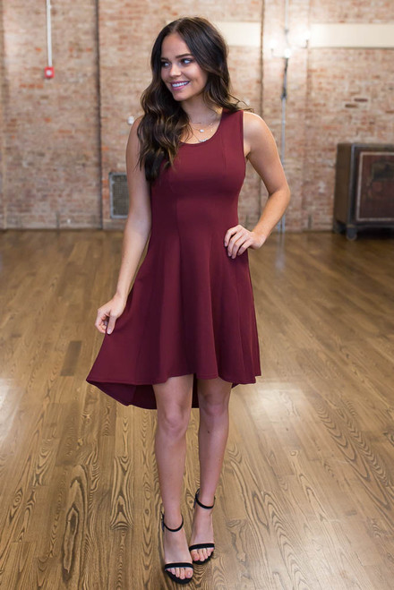 High Low Fit & Flare Dress - Wine - FINAL SALE