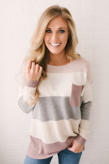 Arendelle Colorblock Pocket Sweater - Mauve Multi