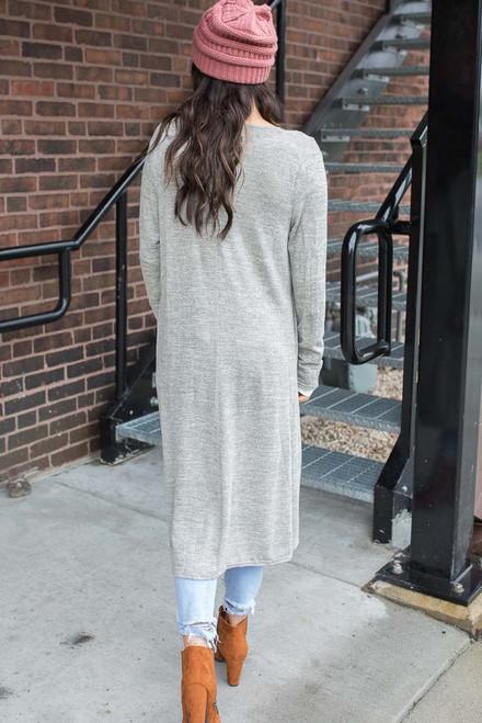 Draped Front Long Cardigan - Heather Grey - FINAL SALE