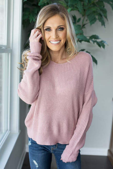 Knot Back Sweater - Mauve - FINAL SALE