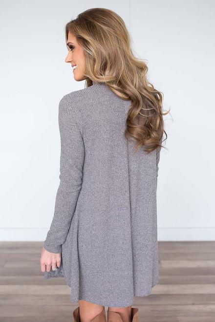 Ribbed Mock Neck Dress - Vintage Khaki - FINAL SALE