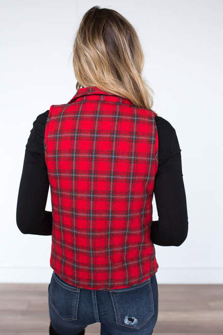 Quilted Tartan Plaid Vest - Red Multi - FINAL SALE