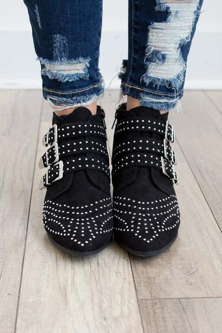 Studded Buckle Booties - Black - FINAL SALE