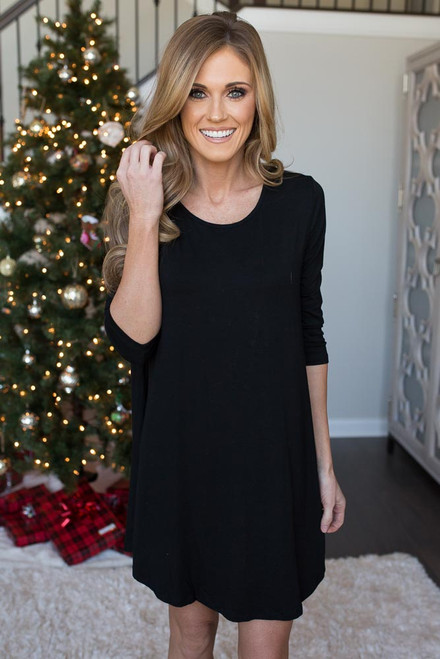 Lattice Back Knit Dress - Black - FINAL SALE