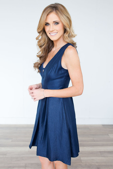 Metallic Fit & Flare Dress - Navy - FINAL SALE