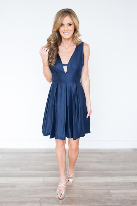 Metallic Fit & Flare Dress - Navy - FINAL SALE