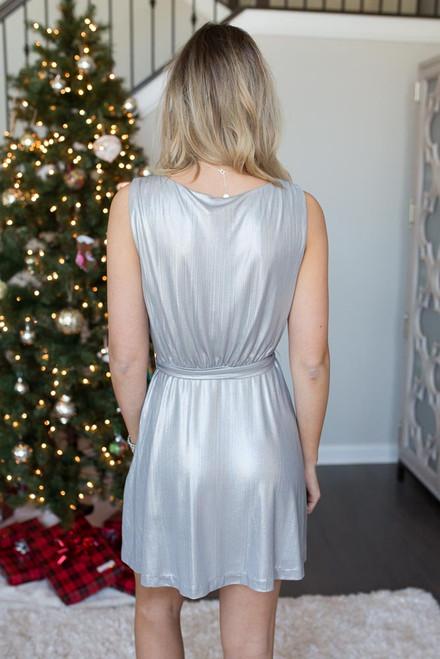 BB Dakota Aggie Wrap Dress - Silver - FINAL SALE