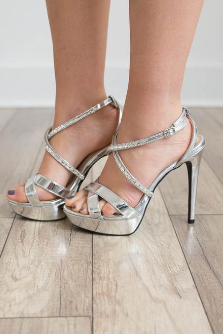 Fashion Week Platform Heels - Silver - FINAL SALE