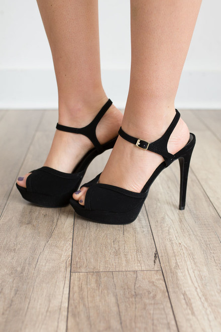 Faux Suede Platform Heels - Black - FINAL SALE