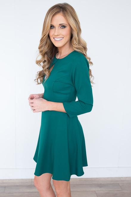 Everly Keyhole Fit & Flare Dress - Hunter Green - FINAL SALE