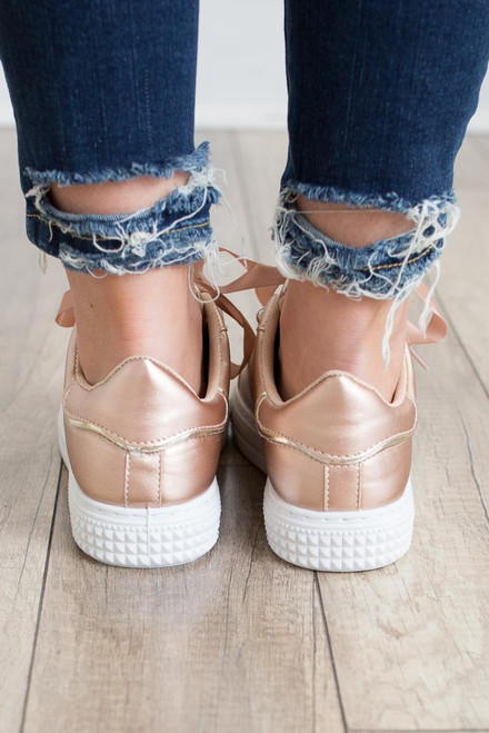Pearl Accented Sneakers - Rose Gold - FINAL SALE