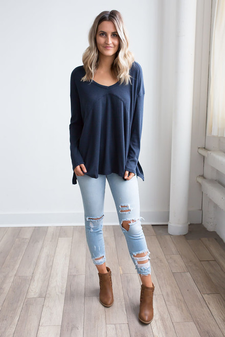 V-Neck Seam Detail Thermal Top - Navy - FINAL SALE