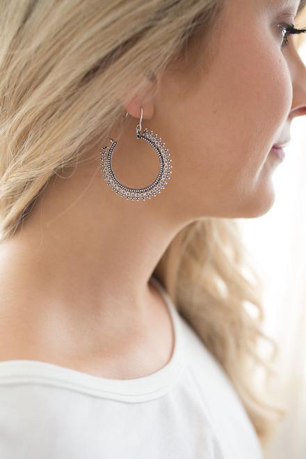 Textured Hoop Earrings - Silver - FINAL SALE