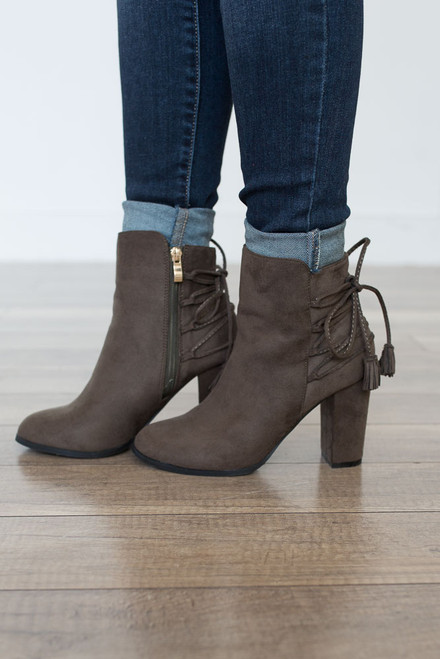 Tassel Tie Detail Booties - Olive - FINAL SALE