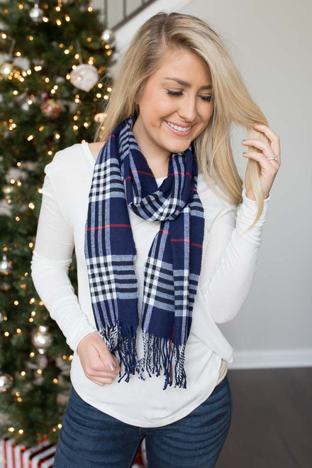 Plaid Fringe Scarf - Navy - FINAL SALE