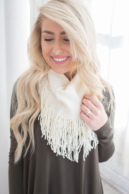Fringe Infinity Scarf - Ivory - FINAL SALE