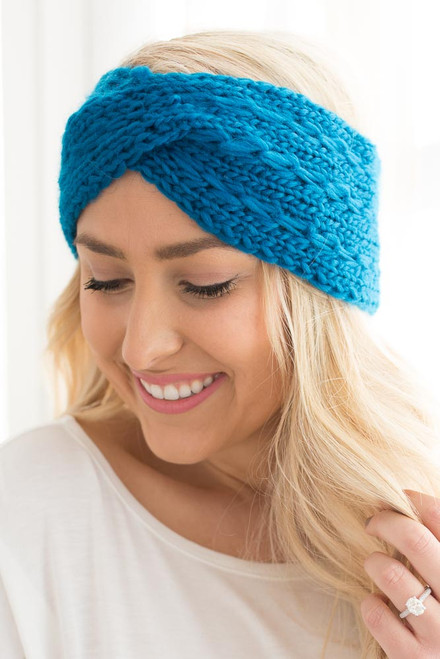 Crochet Twisted Headband - Teal - FINAL SALE