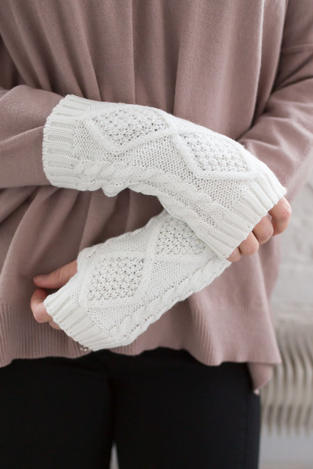 Cable Knit Fingerless Handwarmers - Ivory - FINAL SALE