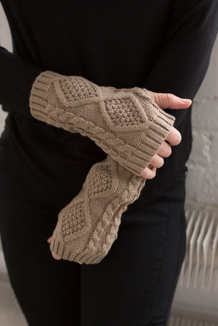 Cable Knit Fingerless Handwarmers - Taupe - FINAL SALE