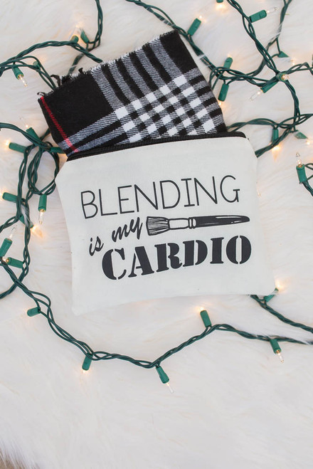 Blending is my Cardio Makeup Bag - White - FINAL SALE