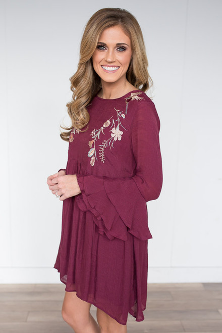 Layered Ruffle Sleeve Embroidered Dress - Mulberry - FINAL SALE