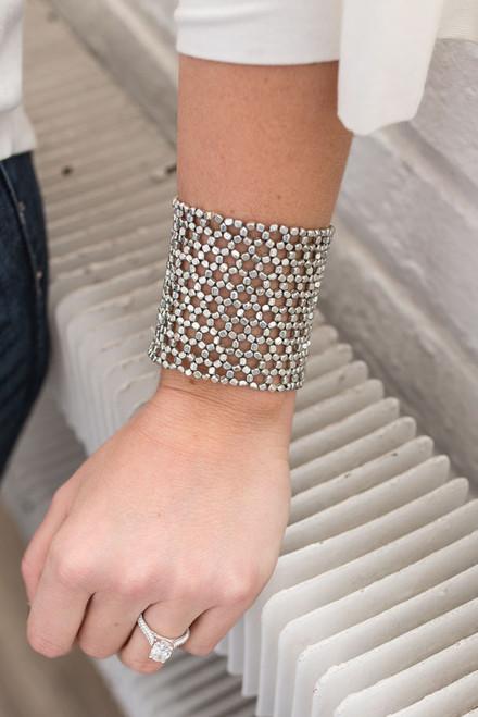Hexagon Beaded Metal Bracelet - Silver - FINAL SALE