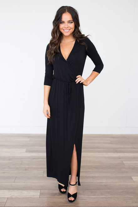 Everly High Low Wrap Maxi Dress - Black - FINAL SALE