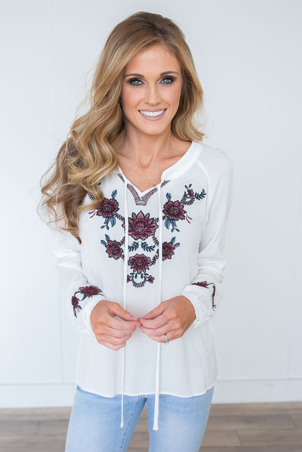 Embroidered Dahlia Tie Front Top - White - FINAL SALE