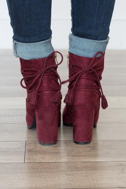 Tassel Tie Detail Booties - Burgundy - FINAL SALE
