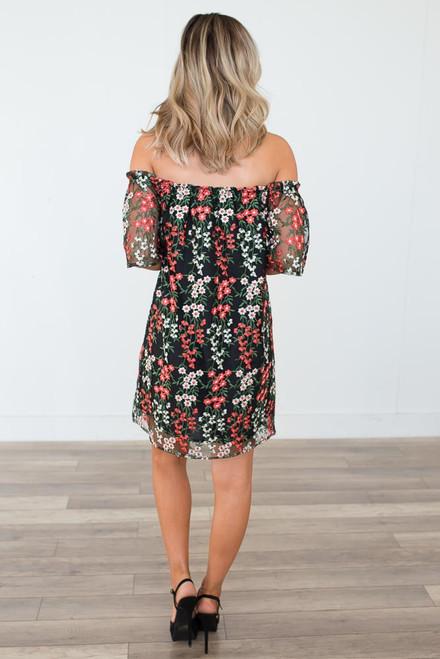 BB Dakota Gates Embroidered Dress - Black Multi - FINAL SALE