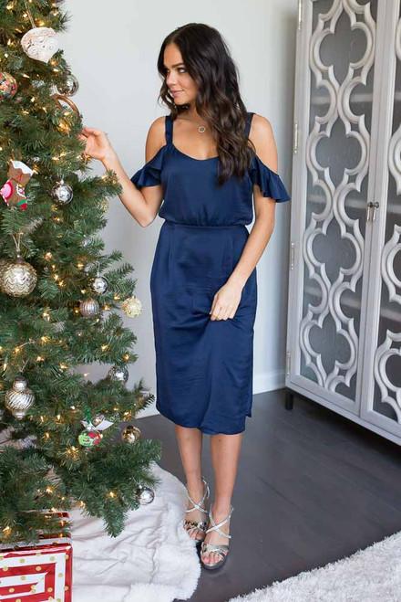 BB Dakota Eileen Cold Shoulder Dress - Navy - FINAL SALE