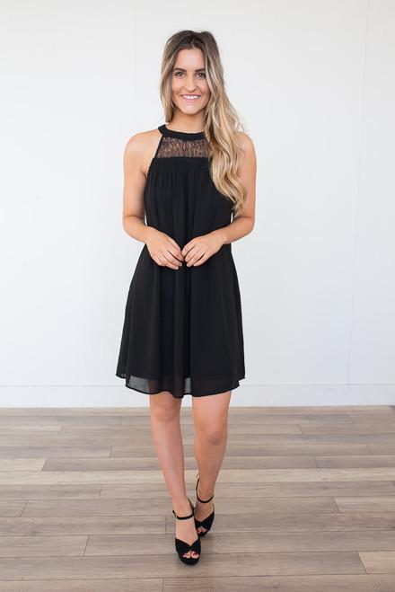 Lace Detail Smocked Halter Dress - Black