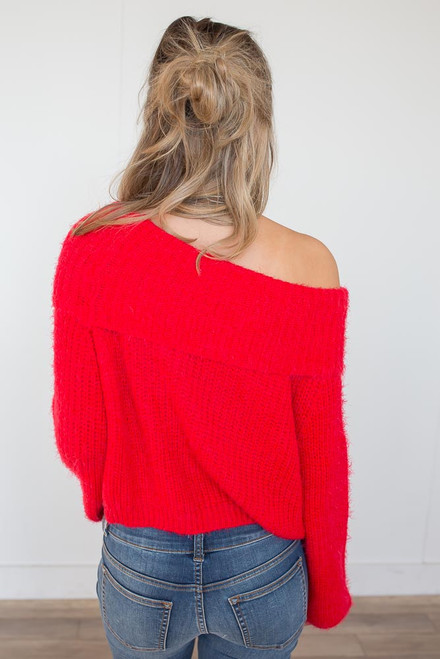 Off the Shoulder Eyelash Sweater - Candy Red