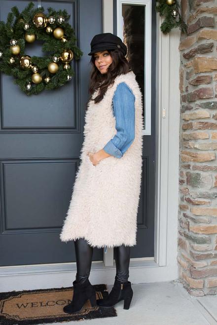 Rocky Mountain Faux Fur Vest - Taupe - FINAL SALE