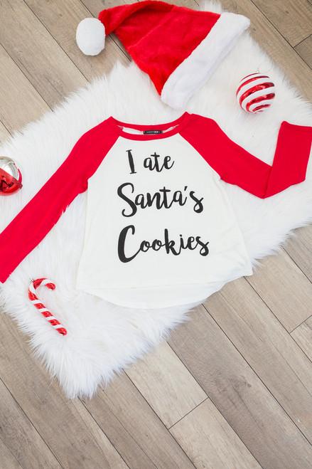 Kids Santa's Cookies Raglan Tee - Ivory/Red - FINAL SALE