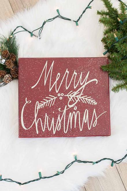 Merry Christmas Box Sign - Burgundy - FINAL SALE