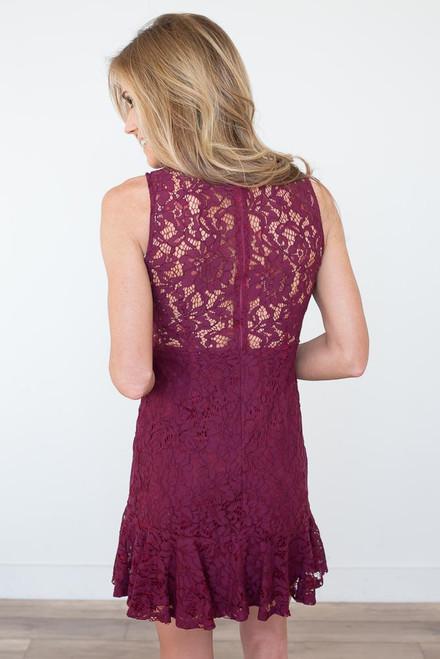 Mock Neck Lace Trumpet Dress  - Wine - FINAL SALE