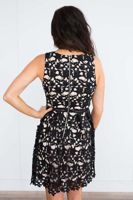 Crochet Fit & Flare Ladder Dress - Black