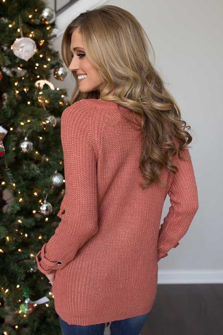 Lace Up Pocket Sweater - Autumn Sunset - FINAL SALE