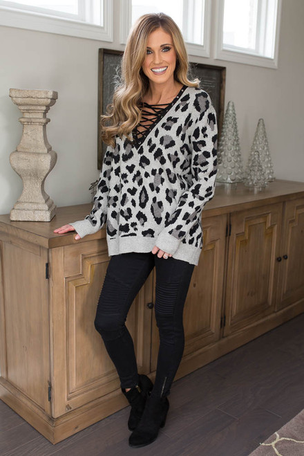 Leopard Lace Up Sweater - Grey - FINAL SALE