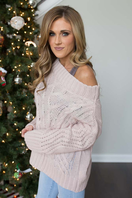 Off the Shoulder Cable Knit Sweater - Light Pink - FINAL SALE