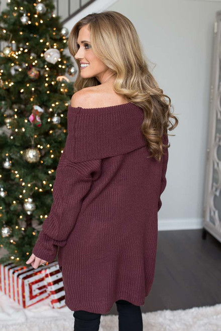 Off the Shoulder Tunic Sweater - Maroon - FINAL SALE