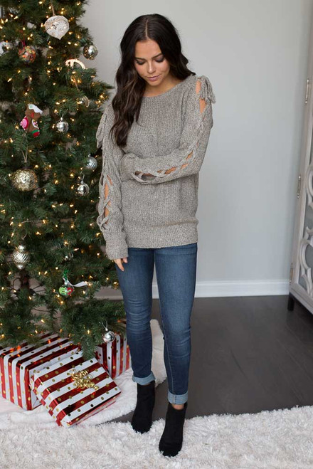 Two Tone Lace Up Sleeve Sweater - Taupe - FINAL  SALE